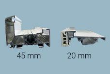 coupe de seuil aluminium 45mm et 20mm pour menuiserie pvc