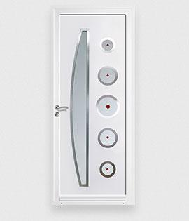 Porte d entr e moderne blanche for Porte interieure en pvc blanche