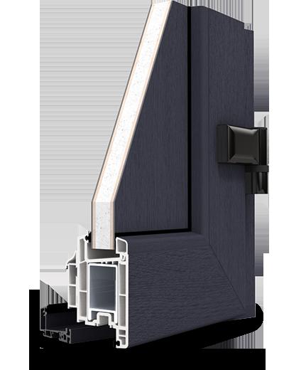 Porte d 39 entr e pvc tendance bois gris anthracite pose de for Fenetre pvc gris anthracite