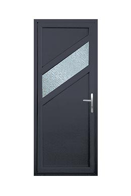 Porte d 39 entr e pvc tendance bois gris anthracite pose de for Porte entree anthracite