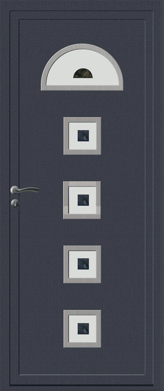 Porte d 39 entr e pvc tendance bois gris anthracite pose de for Luminaire exterieur ral 7016