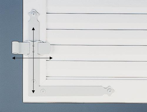 Pentures réglables sur volet PVC